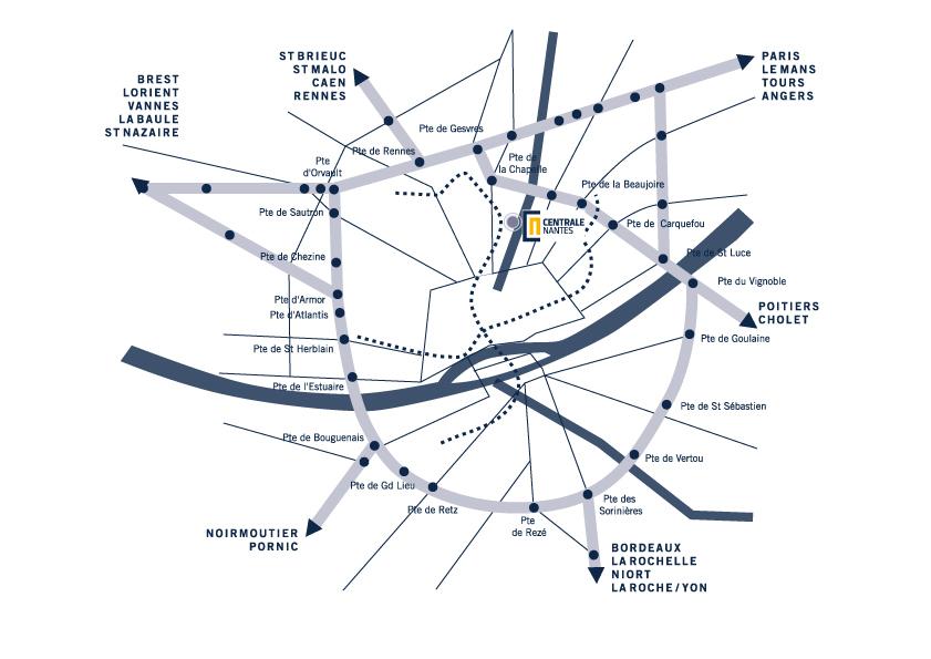 plan d'accès à l'Ecole Centrale de Nantes